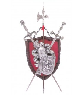 Coat of Arms + halberd 2 swords (72x36 cms)