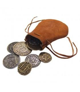 Bolsa de piel pirata con 8 monedas españolas