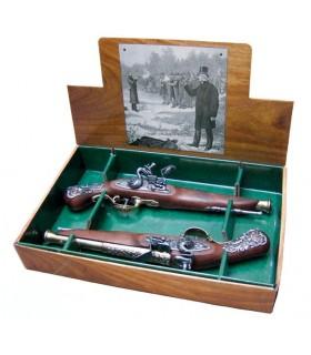 Set 2 pistolas inglesas de duelo, siglo XVIII