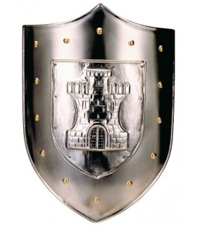 Shield with engraved golden studs castle