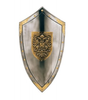 Shield with engraved golden eagles and studs around