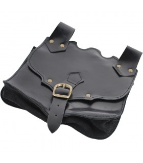 Black leather fanny pouch