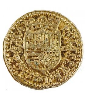 Coin 2 Escudos gold, 3 cms.