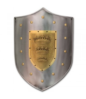 Engraved shield with crown