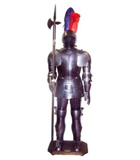 Medieval armor with halberd
