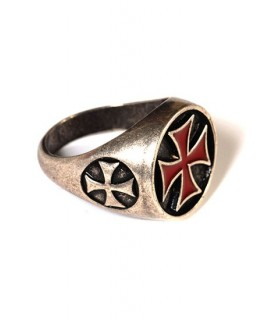 Ring Templar Cross enamelled