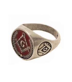 Red enamel Masonic ring