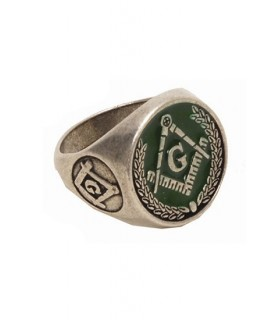 green enamel Masonic ring