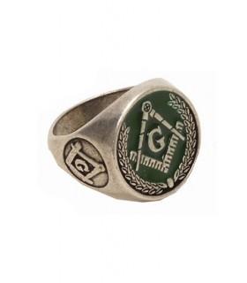 green enamel Masonic ring