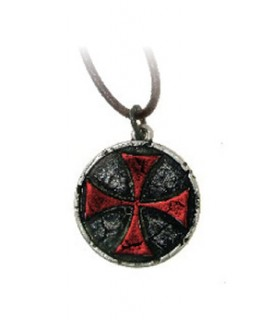 Red Templar Cross Pendant (3.3 cms.)