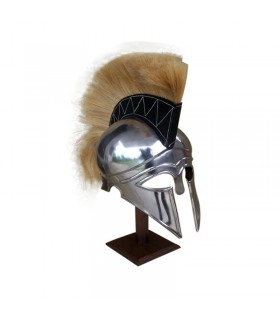 Corinthian helmet with plume and tail