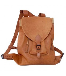 Medieval brown leather backpack