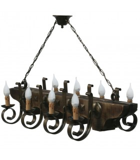 wrought iron and wood lamp 8 arm