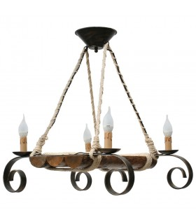 wrought iron and wood lamp 4 arms