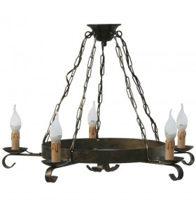 wrought iron lamp chain, 5-arm