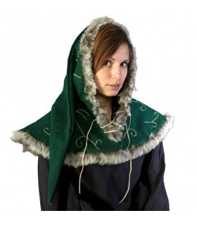 Green medieval hood cords