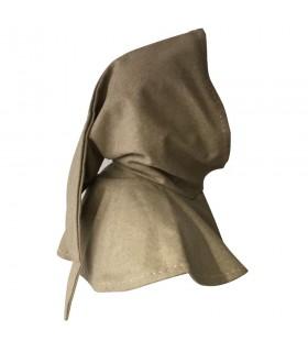 medieval hood beige wool