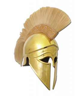 Greek Corinthian helmet with plume gold
