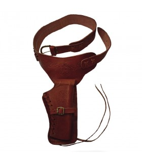 Leather bandolier for one revolver (right-handed)