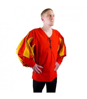 Renaissance soldier shirt, red-yellow