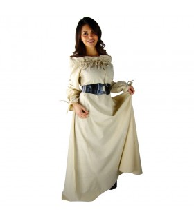 Woman in medieval dress Green-White