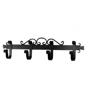 medieval wrought iron hanger with 4 hooks