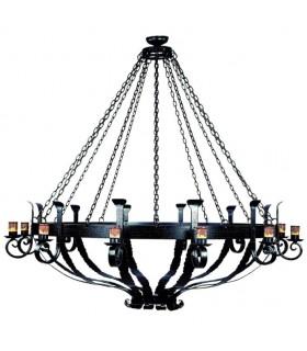 Lamp forge wood wheel, 6 lights