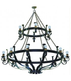 wrought iron lamp large chains, 18 lights