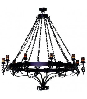 wrought iron lamp large chains, 12 lights