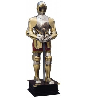 silver and gold with engraved natural armor, maroon suit and sword in his hands