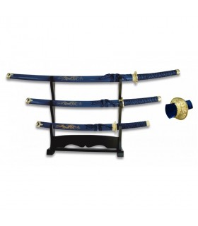 Katana, Wakizashi and Tanto red with black lacquered stand