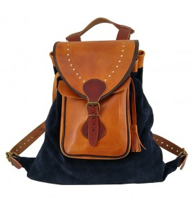 Medieval leather bag, Blue