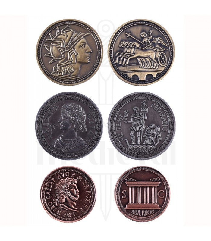 Roman LARP coins, with leather bag
