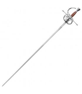 Espada Rapiera funcional, empuñadura madera