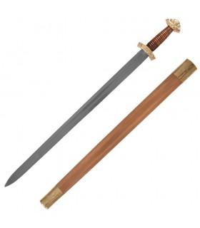 Espada vikinga larga con vaina