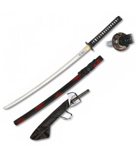 Red-black scabbard Katana Carbon + case + stand
