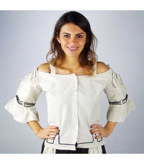 Medieval cream blouse with embroidery