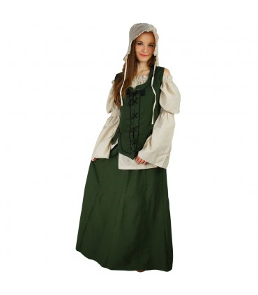 Medieval woman green skirt