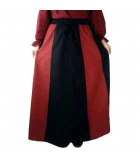 Bicolor Red-Cream Medieval Skirt