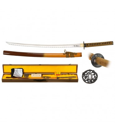 Katana carbon steel blade with cover, cleaning kit and tsubas.