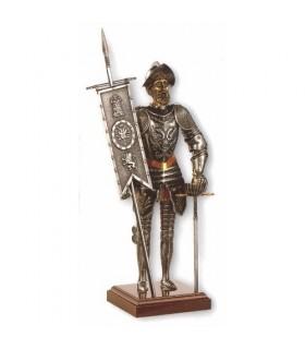 Miniatura Conquistador con espada y estandarte, 42 cms.