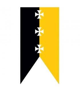 Medieval banner yellow-black templar crosses