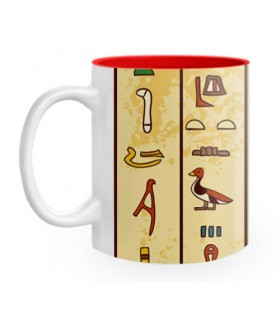 Ceramic mug with Egyptian hieroglyphs