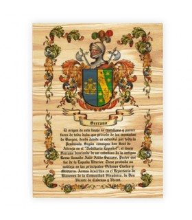 Coat of Arms, 1 Surname on wood (30x40 cms.)