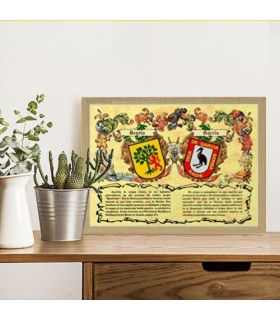 Box heraldic shields 2 surname (30x40 cms.)