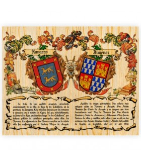 Coat of Arms, 2 Surnames on wood (40x50 cms.)