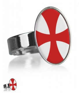 Cross and Knights Templar adjustable ring