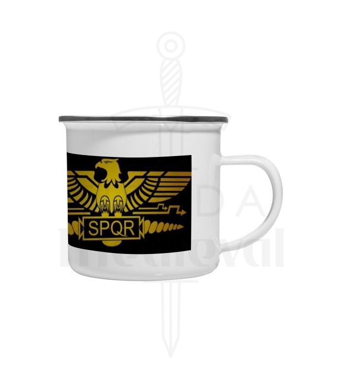 Cup brass enamelled Vintage Roman Legion SPQR