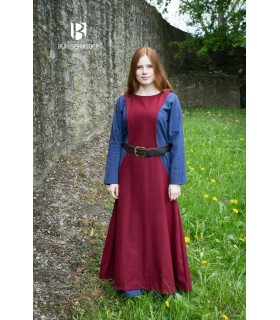 Tunic Medieval Woman Albrun in Red Wool