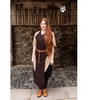 Apron medieval Asua, brown wool